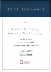 Podziękowania od Minister Edukacji Narodowej Anny Zalewskiej za działania na rzecz rozwoju kształcenia zawodowego